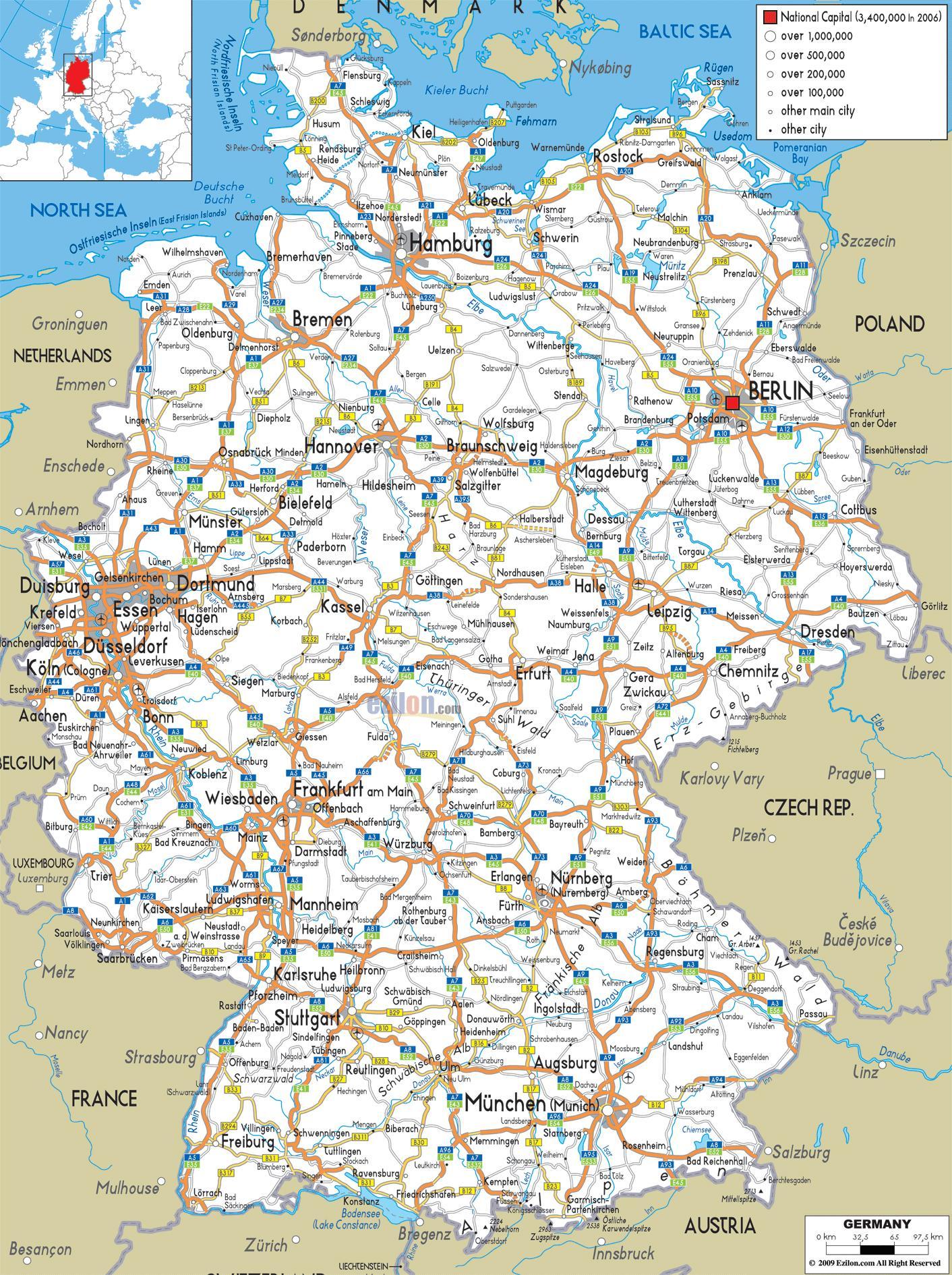 Cartina Stradale D Europa.Mappa Stradale Germania Germania Germania Mappa Stradale