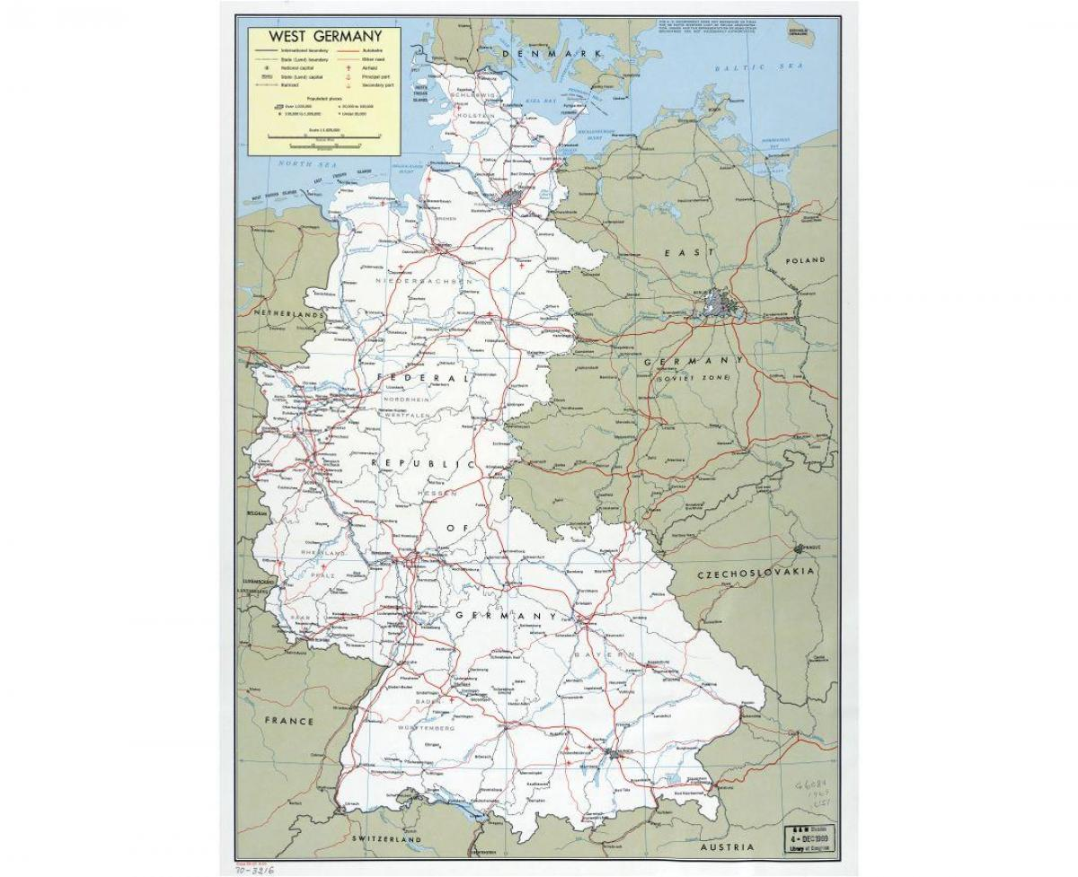 La Germania ovest sulla mappa - Mappa della Germania ovest con la città (Europa Occidentale ...