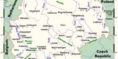 Germania Cartina Fiumi.Germania Mappa Mappe Di Germania Europa Occidentale Europa